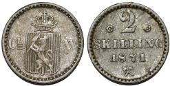 World Coins - Norway. Carl XV of Seden. AR 2 Skilling 1871.  Good VF