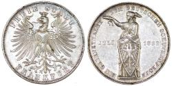 "World Coins - Germany. Free city of Frankfurt. Free City ""Shooting"" Taler 1862. Good AU, nice luster"