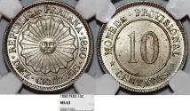 World Coins - Peru. Provisional Government. CU-NI 10 Centavos 1880. NGC MS63