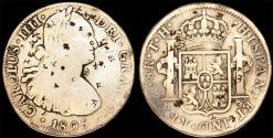 World Coins - MEXICO, Colonial. Carlos IV. King of Spain (1788-1808). Silver 8 Reales 1805 Mo-FH. VF with chop marks