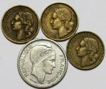 World Coins - France. Lot of 4 Coins: 10 Francs 1948-1952. XF-UNC.
