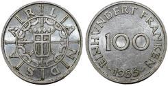 World Coins - German Republic State. Saarland. CuNi 100 Franken 1955. Good AU+