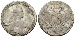 World Coins - Imperial Russia. Catherina II (1764-1796) Silver Ruble 1769 CΠБ CA. Fine+