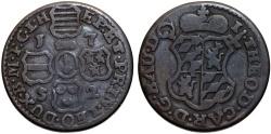 World Coins - Spanish Netherlands. Bishops of Liege. John Theodore. Cu Liard 1752. aVF