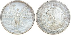 World Coins - Mexico. Republic. Commemorative AR 2 Pesos 1921. Attractive XF
