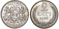 World Coins - Latvia (ex Livonia). Republic (1918-1940) AR 2 Lati 1926. Choice AU