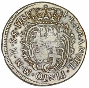 World Coins - Malta. Military Knights Order of St. John. Grand Master Emmanuel Pinto (1741-1773) AR 30 Tari 1761. VF