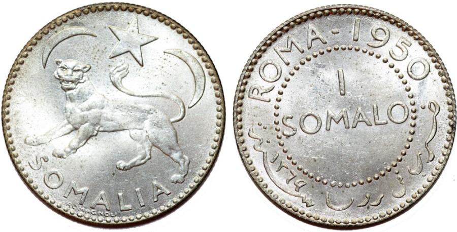 World Coins - Somalia. Republic. Silver 1 Somali 1950. Choice UNC