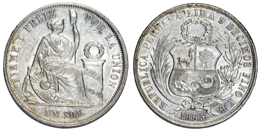 World Coins - Peru. Republic. AR 1 Sol 1865 YB. Choice AU/UNC