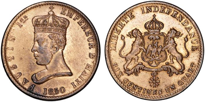 World Coins - Haiti, Empire. Faustin I (1849-1858). CU 6¼ Centimes 1850. VF , cleaned.