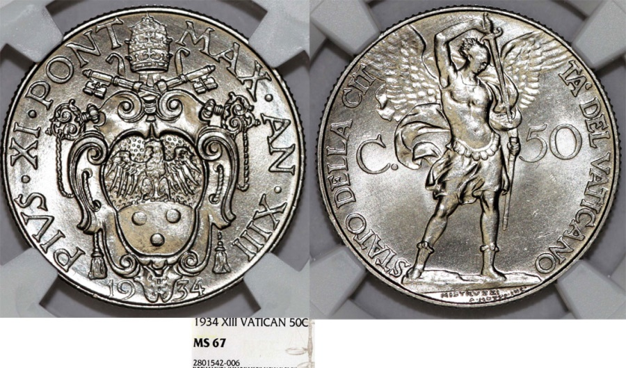World Coins - Vatican City. Pope Pius XI (1922-1939). 50 Centimos 1934. NGC MS67