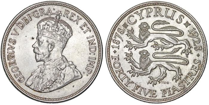 World Coins - British Colony. Cyprus. King George V. Silver 45 Piastres 1925. Choice AU