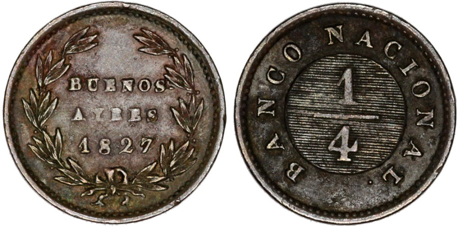 World Coins - Argentina. Province: Buenos Aires. AE 1/4 Real 1827.  VF, Scarce