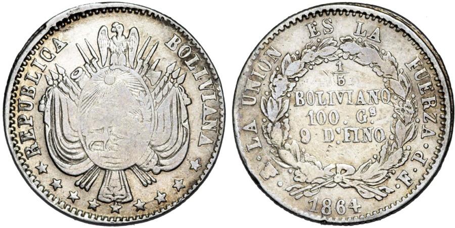 World Coins - Bolivia. Republic. AR 1/5 Boliviano 1864. Fine.