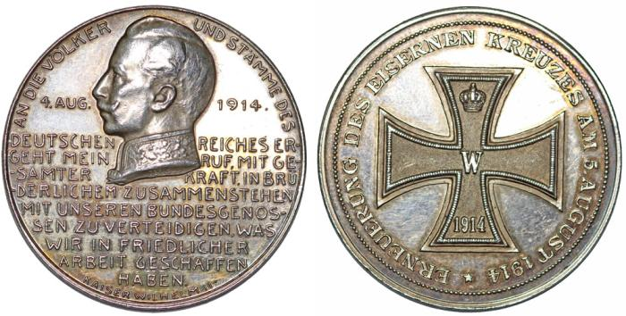 "World Coins - Germany. Brandenburg-Prussia. Wilhelm II (1888-1918). AR Medal 1914. "" On the Renewal of Iron Cross""."