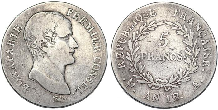 World Coins - FRANCE. NAPOLEON BONAPARTE as a Consul (1794-1804). AR 5 FRANCS L' AN 12. Fine +