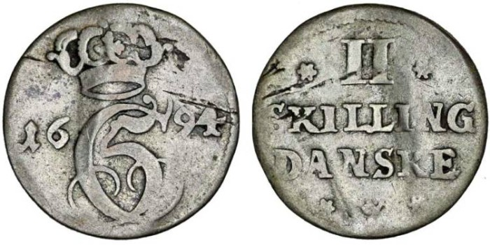 World Coins - Denmark: The Gluckstadt Duchy. Christian V (1670-1699) AR 2 Skillings 1694. AVF