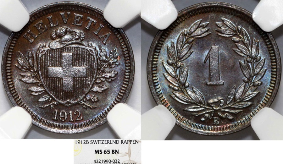 World Coins - Switzerland. Federation issue. AE 1 Rappen 1912 B. NGC MS65 BN.