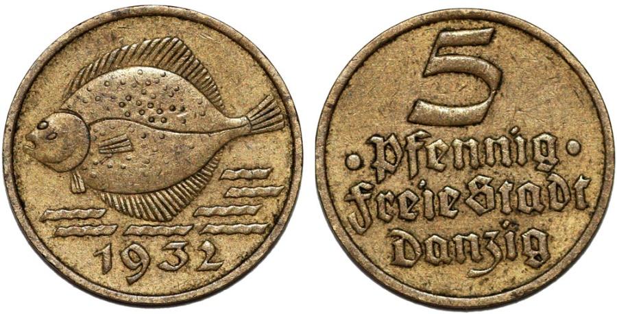 World Coins - Free City of Danzig. 5 Phennige 1932. Nice Choice XF