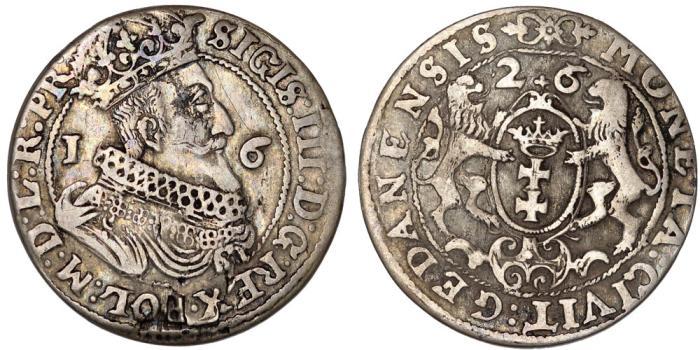 World Coins - Poland. City of Danzig. Sigismund III (1587-1632). Silver 1/4 Taler 1626/5. aVF.