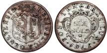 World Coins - Swiss Cantons. City of Geneva. AR 6 Sols 1765. RARE type VF