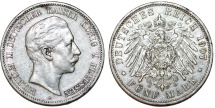 World Coins - Germany Empire. Prussia. Wilhelm II (1888-1918). Silver 5 Mark 1907 A. XF