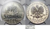 "World Coins - Poland. Nickel Pattern ""PROBA"" 50,000 zl 1990MW. ""Solidarity"". NGC PF63"