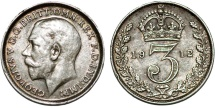World Coins - Great Britain. King George V (1911-1935) Silver 3 Pence 1912. AU, toned.