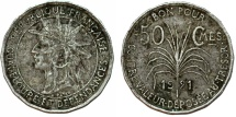 World Coins - Guadeloupe. French Colony Issue. CuNi 50 Centimes 1921. VF