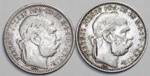 Hungary: Lot of 2 Coins: Silver 1 Korona 1894 ; 1895. VF