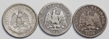 World Coins - Mexico: Lot of 3 Coins: Silver 10  Centavos 1893-1907. VF