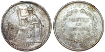 World Coins - Indo-China as French Colony. Silver 1 Piastre 1906. XF