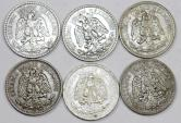 World Coins - Mexico. Lot of 6 Silver coins. struck in XXc, XF to AU, cheap.