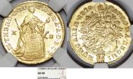 World Coins - Hungary as part of H.R.E. Empress Maria Theresa (1740-1780). Gold Ducat 1750 KB. NGC AU58