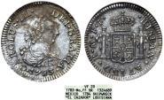"""World Coins - Mexico. AR 1/2 Real 1784 FF. SHIPWRECK """"El Cazador"""". ANACS VF20"""