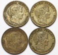 World Coins - Peru. Republic. Lot of 4: 10 Centavos 1940's. VF+