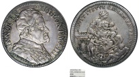 World Coins - Papal States. Pope Innocent XII - Antonio Pignatelli. (1691-1700). AR Piastra 1693. NGC XF40, Toned