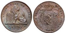 World Coins - Belgium. Leopold I (1831-1865). AE 2 Centimes 1864. Choice XF