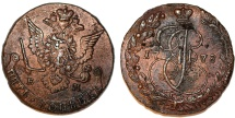 World Coins - Imperial Russia. Catherina II (1764-1796). Copper 5 Kopecks 1778 EM. About XF