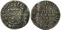 World Coins - Denmark. Frederik II (1559-1588). Large Silver 2 Skilling 1561. Good VF