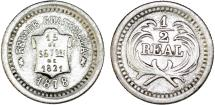 """World Coins - Guatemala. Republic. Silver 1/2 Real """"Scroll Type"""" 1878. Choice VF"""