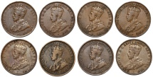 World Coins - Australia. Commonwealth. Lot of 8 Pennies struck under George V. Choice VF-XF
