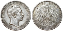 World Coins - Germany Empire. Prussia. Wilhelm II (1888-1918). Silver 5 Mark 1903 A. Toned XF