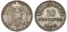 World Coins - BOLIVIA, Republic. 1825-present. CuNi 10 Centavos 1892 H. VF