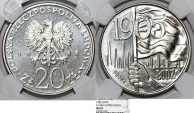 "World Coins - Poland. PRL (1945-1989). CuNi 20 zl. Pattern 'PROBA' 1980. "" 75th anniversary of Lodz workers Revolt"". NGC MS67!"