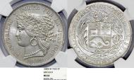 World Coins - Peru. Republic. Silver Scarce 5 Pesetas 1880 B. NGC MS64!