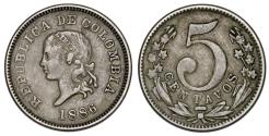 World Coins - Colombia. CU-NI 5 Centavos 1886. XF/VF