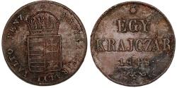 "World Coins - Hungary. Franzc I Josef (1848-1916). ""Spring Uprising"" EGY Krajczar 1848 KB. XF"