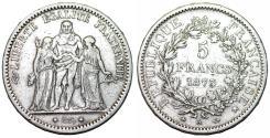 World Coins - France. III Republic. Silver 5 Francs 1875 A. Choice VF