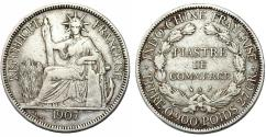 World Coins - Indo- China. AR 1 Piastre De Commerce 1907. XF, Lightly Toned